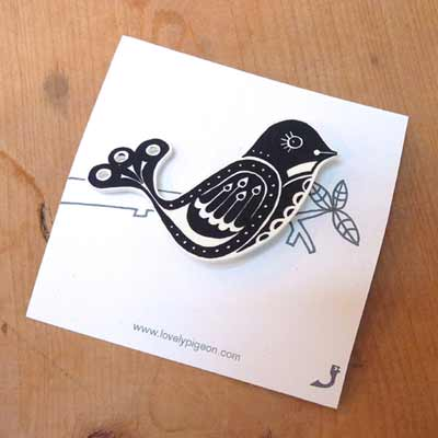 Lovely Pigeon Fantail Bird Brooch;  available from FCA&C's online shop @ £5.50