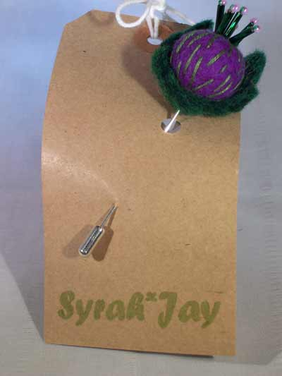Syrah Jay Mini Thistle Pin;  available from FCA&C's online shop @ £5.50